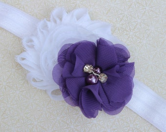 Purple baby headband, purple and white headbands, purple hair clips, purple flower headband, purple flower girl headband, purple hair bow