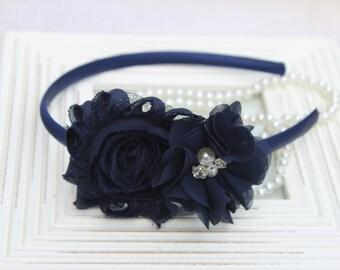 Navy blue headbands, navy blue flower girl headbands, navy blue girls headband, navy blue flower headband navy blue wedding headband toddler