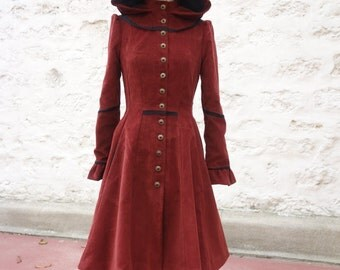 Manteau à capuche évasé en velours côtelé avec détails en ruban de dentelle