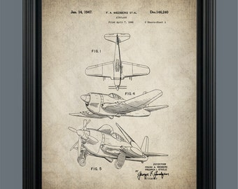 Airplane Patent Print - Airplane Poster - Aviation Art - Propeller Airplane - Pilot Gift - Patent Poster - Instant Download - #069