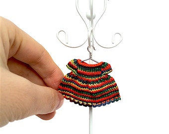 Miniature doll clothes hand-knitted doll dress for 2.5 inch doll/ Rainbow, Dollhouse miniature, doll clothing