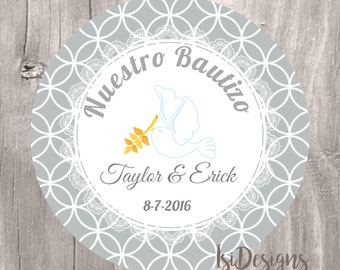 Baptism Printable Favor Tag, Personalized Baptism Printable Labels, Instant Download, Gray Baptism Favor Tags, Cupcake Toppers, Bautizo