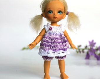 "Knitted outfit ""White&Lilac melange"" for Lati White SP., Pukipuki and other dolls similar format"