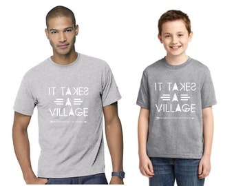 SIZE 3T --It Takes a Village tee/ Men & Youth design / Adoption Fundraiser