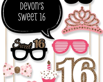 Sweet 16 Birthday Party Photo Booth Props - Photobooth Kit with Custom Talk Bubble - 20 Pieces
