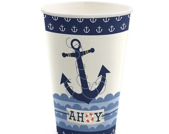 8 Count - Ahoy Nautical - Hot/Cold Cups - Baby Shower or Birthday Party Supplies