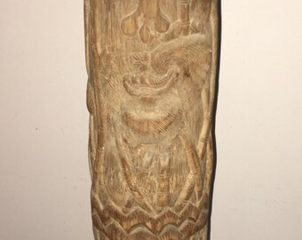 Handcarved bamboo and panda scene candle holder or lamp