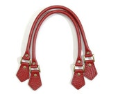 "byhands Embossed 100% Genuine Leather Purse Handles / Bag Strap, Red, 18.2"" (22-4701-E)"