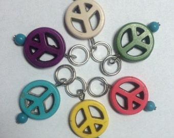 Colorful Peace Sign Knitting Stitch Markers - Set of 6
