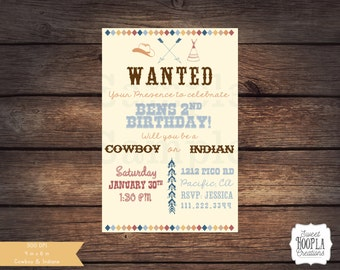 COWBOY and INDIAN Invitation. PRINTABLE Invite