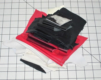 Red Black White Leather Scraps Lot - 11 oz - Genuine Leather And Suede Pieces - Cowhide Scrap - New And Upcycled - Leather Fabric