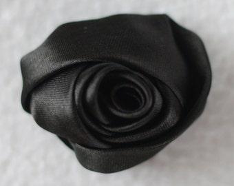 """2"""" Rose Flower Heads, Wholesale, Mini Rosettes, Flower Headband Baby, Lot of 1, 2, 5 or 10, Black"""