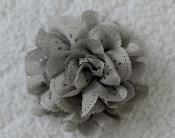 """3"""" Eyelet Hair Flowers, Wholesale Flower Heads for Headbands, Lot of 1, 2, 5 or 10, Grey"""
