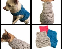 Dog Sweater All Sizes- X-Small Small & Medium Size CROCHET PATTERN Cat Pet Chihuahua Vest Birthday Sweater Apparel Clothes Costume Outfit
