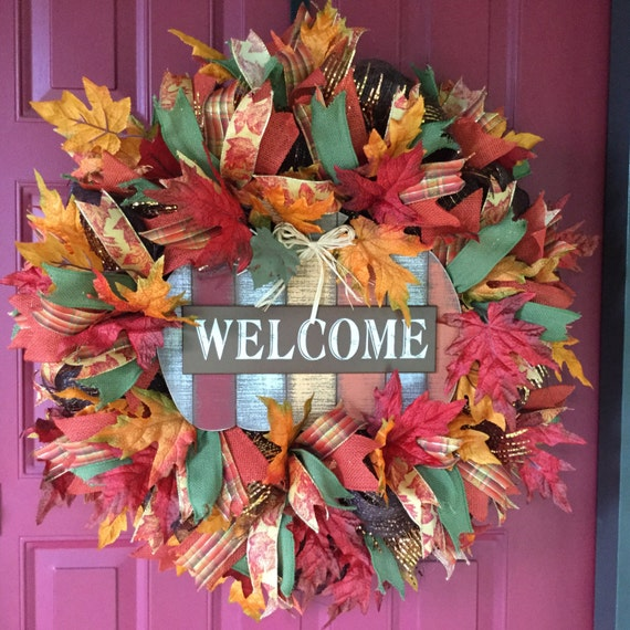 Welcome Guests With Fall Door Decorations: Fall Deco Mesh Wreath Welcome Fall Wreath Autumn Front Door