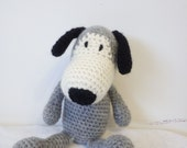 Hand knitted dog soft toy by Liz