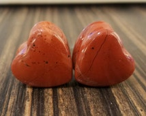 "Sizes 2g - 5/8"" Heart Shaped Red Jasper Stone Plugs! CHOOSE SIZE"