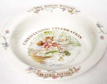 Beatrix Potter christening bowl celebration - Jeremy Fisher - World of Beatrix Potter - 1986