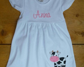 Personalized Girls White Cap Sleeve Dress with Monogram and Appliqued Cow 3 Months- 4T Larger sizes Available