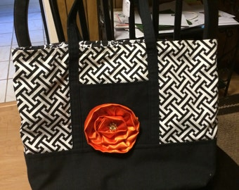 Black and White Canvas Lined Tote