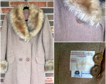 Beautiful Sears Fashions Wool/Nylon Faux Fur 1970s Coat