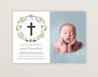 Boys Photo Christening/baptism Invitations. Wreath and Cross. I Customize, You Print.