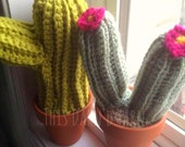 Set Of Two Crochet Cactus, Two Crochet Cacti, Crochet Cactus, Crochet House Plants, Crochet Cacti, Crochet Pincushion Cactus - MADE TO ORDER
