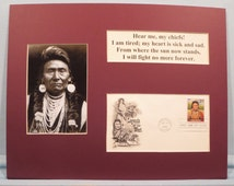 """American Indians -  Chief Joseph of Nez Perce - """"I will fight no more forever!"""" & First Day Cover of his own stamp"""