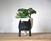 Ships on March 27: Three-legged Planter with Black Cat on White