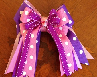 Shorty Hair Bows for Horse Shows/Hair Accessory/Pink Purple/Shorty