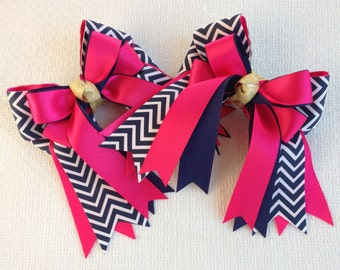 Shorty Hair Bows for Horse Shows/Navy Blue Chevron & Pink
