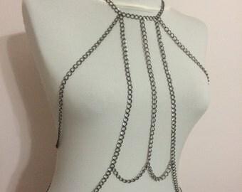 silver body necklace /  dark grey / body harness / body jewelry /  body necklace /  body chain *160