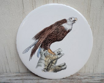 Unique Vintage Hand Painted Eagle Trivet!