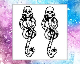 Set of Two Temporary Tattoo Dark Mark Tattoo Harry Potter Voldemort Tattoo Death Eaters tattoo fantasy arm tattoo