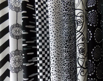 "Black and White Fabric 40 Piece 10"" Squares Layer Cake Quilt Fabric 100% Cotton"