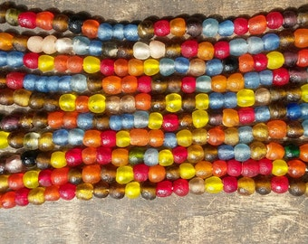 """African recycled glass beads, 8/9 mm.diam., 1 strand, 16"""" (41 cm.),49/53 beads, assorted colors/selections of greys/selection of cool colors"""
