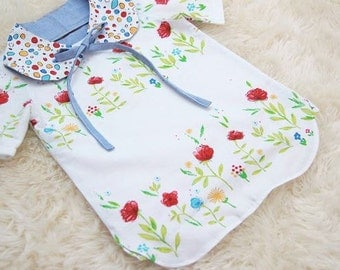 Flowers Pattern Cotton Fabric by Yard - White Color
