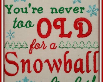 5x7 Snowball Fight Design - Machine Embroidery File Instant Download