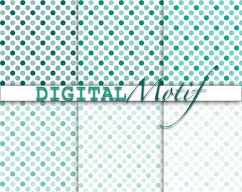 Teal Polka Dot Digital Paper, Printable Paper, Instant Download Mint Polka Dot, Digital Download Paper, - 300 PPI - TEA1