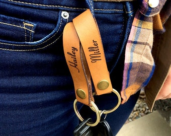 Personalized Leather keychain perfect for wedding party gifts!