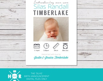 Printable - The 'Silas' Birth Announcement | Baby Thank You Card | Infographic Card