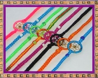 Hand Made Dream Catcher Bracletes. Set of 10 Assorted Colors.