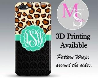 Monogram iPhone 6 Plus Case Personalized Phone Case Cheetah & Damask Monogrammed iPhone 6 6S Case, Iphone 4 4S, iPhone 5 5S, iPhone 5C #2609