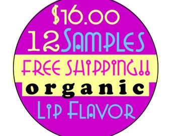 12 Organic Lip Balm Flavor Oil Samples