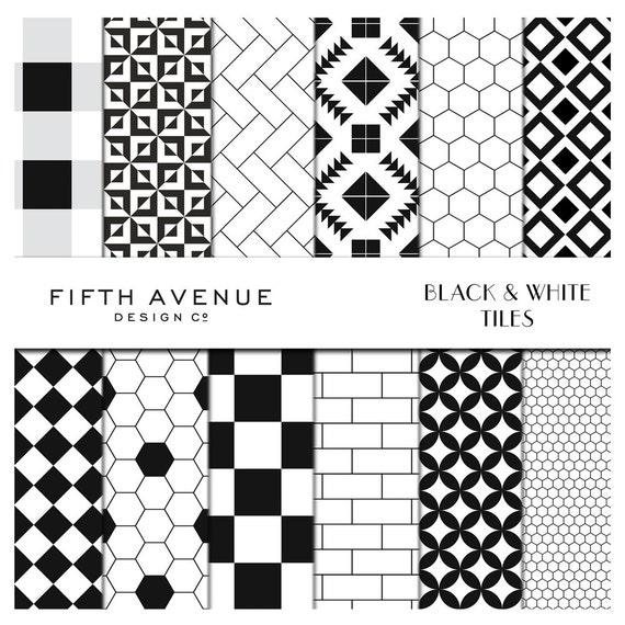 black white tiles digital paper. Black Bedroom Furniture Sets. Home Design Ideas