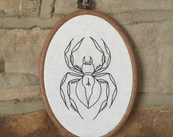 Hand Embroidered Hoop, Traditional Spider Embroidery