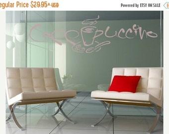 Summer Sale - 20% OFF Cappuccino glass window wall decal, sticker, mural, vinyl wall art