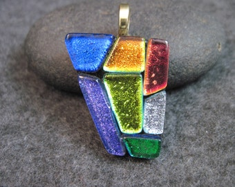 RAINBOW MOSAIC, Dichroic Glass Pendant Necklace