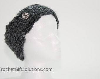 Charcoal Grey Headband with 1 Vintage Buttons, Neck Warmer, Gift for Woman