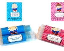 10 Superhero Baby Shower Lip Balm Favors - Custom Color & Flavor, Personalized Lip Balm, Superman Baby Shower, Super Hero Baby Shower, A27